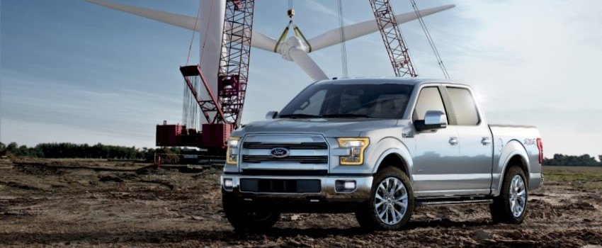 2017 Ford F-150 parked in front of crane