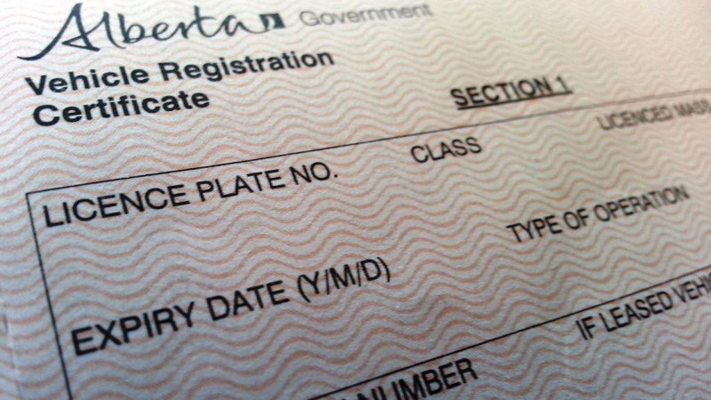 Alberta Vehicle Registration Certificate